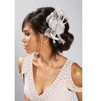 Silver Lace and Feather Fascinator