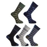 Firetrap Pack of 5 Camo/Stripe Socks