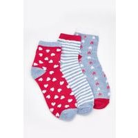 Pack of 3 Star/Heart Trainer Socks