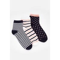 Pack of 3 Spot/Stripe Trainer Socks