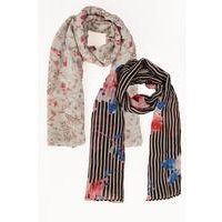Pack of 2 Floral Stripe Woven Scarves