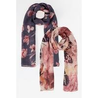 Pack of 2 Butterfly Floral Woven Scarves