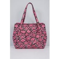 Pink Snake Print Tote Bag with Matching Purse