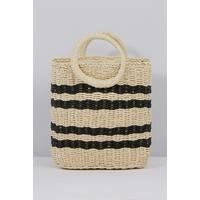 Straw Cream and Black Stripe Bag