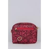 Crossbody Pink Snakeskin Print Bag