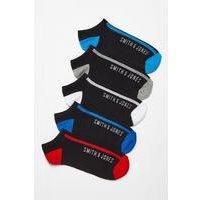 Smith and Jones 5 Pack Trainer Black Socks