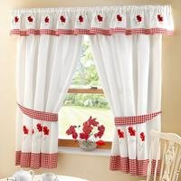 Embroidered Kitchen Curtains With FREE Tie Backs