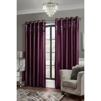 Faux Silk Sequin Top Border Lined Eyelet Curtain