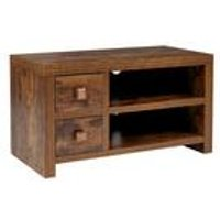 Mango Wood-Effect 2 Drawer TV Stand