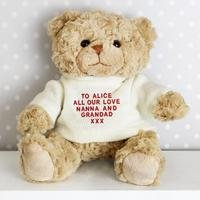 Personalised - Teddy Message Bear in Red Jumper