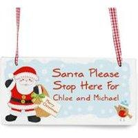 Felt Stitch Santa Stop Here Wooden Sign