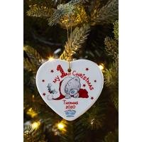 Personalised Me To You 1st Christmas Ceramic Heart Decoration