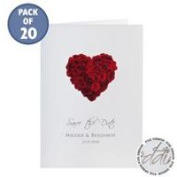 Personalised Rose Heart Save The Dates