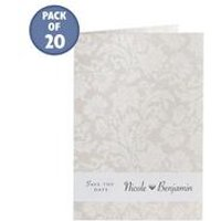 Cream Personalised Damask Save The Dates