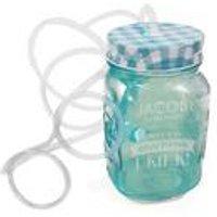 Personalised Blue Mason Jar with Glasses