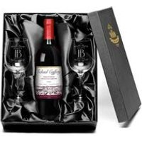 Personalised Vineyard Red Wine and Glasses - Happy Birthday