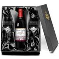 Personalised Red Wine and Glasses - Congratulations