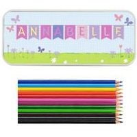 Personalised Bunting Pencil Tin With Pencil Crayons