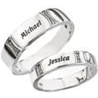 Personalised Silver Diamond Accent Wedding Band - 4mm
