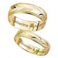 9ct Gold Personalised Chevron Wedding Band - 6mm