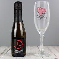 Personalised Flute and Miniature Prosecco Set