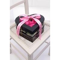 Personalised Pink Rose Heart Hat Box Arrangement