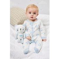 Babys Sleepsuit With Personalised Panda - Blue