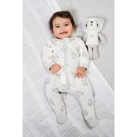 Babys Sleepsuit With Personalised Panda - Grey