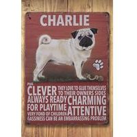 Personalised Metal Dog Sign - Pug