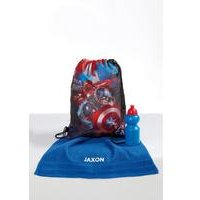 Personalised Avengers Pump Bag, Towel and Water Bottle Set