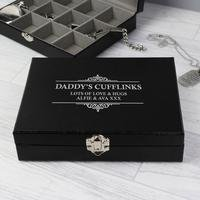 Personalised Large Cufflink Compartment Box