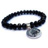 Personalised Edge Black Crystal Bracelet