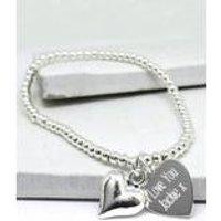 Silver Beaded with Personalised Heart