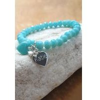 Personalised Faceted Heart Bracelet