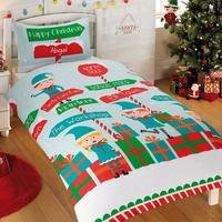 Personalised Elves Workshop Single Duvet Set