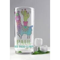 Personalised Llama Hi Ball Glass