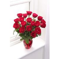 Personalised 18 Red Roses and Glass Vase
