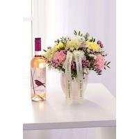 Personalised Pearl Arrangement and Rose Wine