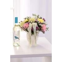 Personalised Pearl Arrangement and White Wine