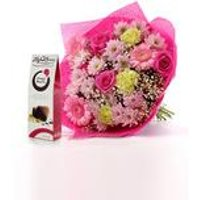 Personalised Pink Elegance Bouquet and Chocolates