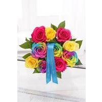 Personalised Rainbow Roses With Ribbon