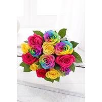 Personalised Luxury Rainbow Roses