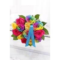 Personalised Luxury Rainbow Roses With Ribbon