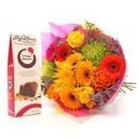 Personalised Vivid Bouquet And Chocolates