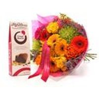 Personalised Vivid Bouquet And Chocolates With Ribbon