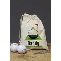 Personalised Golf Green Canvas Bag With Balls and Tees
