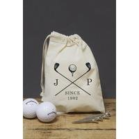 Personalised Golf Clubs Canvas Bag Containing Balls and Tees