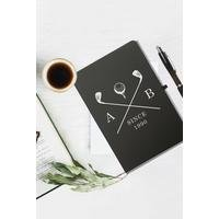 Personalised Golf Clubs Black Notebook and Ballpoint Pen