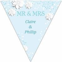 Personalised Blue Spring Blossom Wedding Bunting