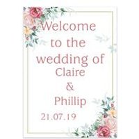 Personalised Floral Welcome Wedding Sign